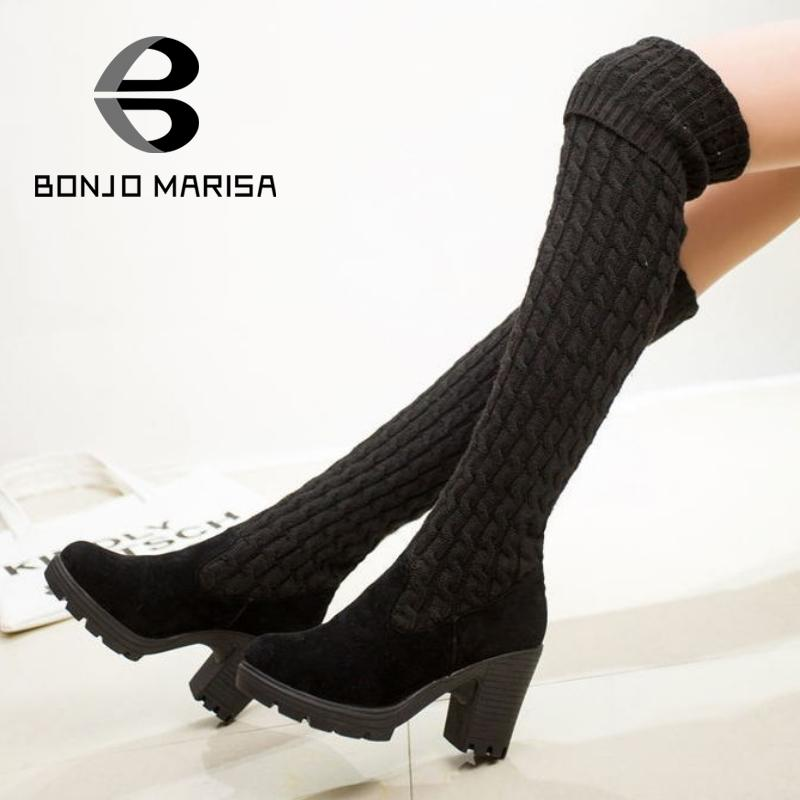 BONJOMARISA Vintage Round Toe Knit Elastic Slip On Platform Over The Knee More Styles Women Boots Fashion Lady Girls Dress Shoes<br><br>Aliexpress