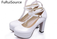The spring and autumn waterproof platform high heel strap thick with low help shoes round head size code FuRuiSource