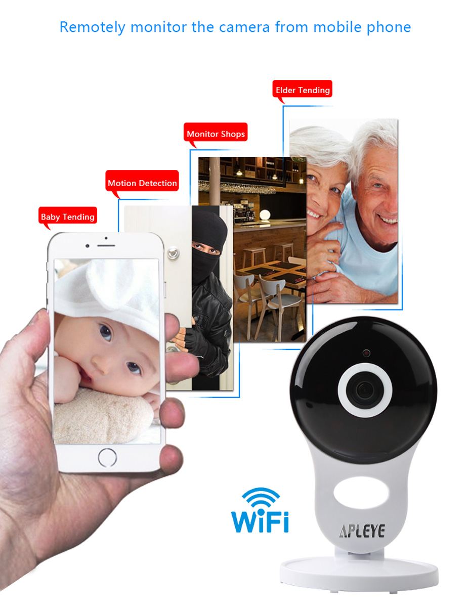 APLEYE WiFi IP Camera P2P CCTV Security Wireless Camera Mini WI-FI Baby Monitor Surveillance Camera for xiaomi