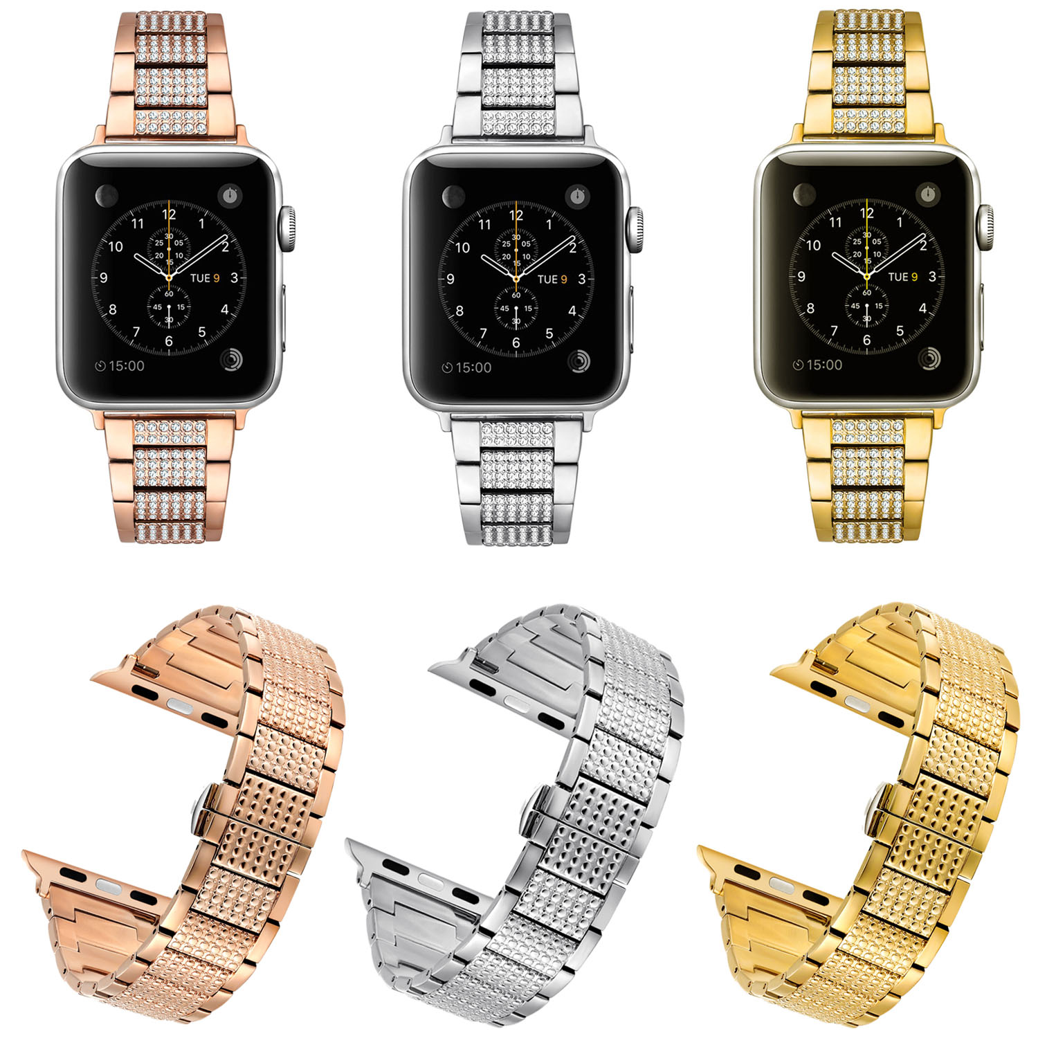 Butterfly Buckle Stainless Steel Watch Band for Apple Watch Series 1/2/3 Strap Bling Diamond Rhinestone Wristband Bracelet<br>