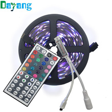 Non waterproof 10M 5M 5050 RGB LED strip light 10M LED light tape rope ribbon+44 key RGB remote controller Kit Free Shipping