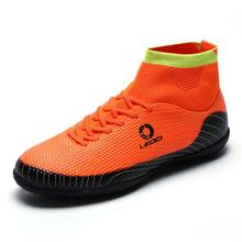 2016 High Top Football Boots Men Big Size Waterproof Football Trainers Shoes Breathable Blue/Orange/Green Football Boots For Man