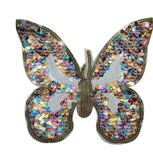Fashion clothes patch sequins 18cm logo butterfly brand applique embroidery flower patches for clothing sticker patchwork