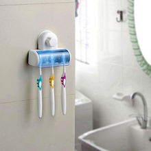 Suction Cup Wall Mount Bathroom 5 Hooks Toothbrush Holder Tooth Brush Holder For Toothbrushes Accessories For Bathroom Set