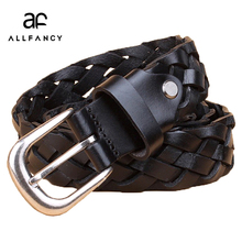 Ladies leather woven belts buckle Korean Retro Leather Braided Belt needle layer decorative youth fashion women belts(China)