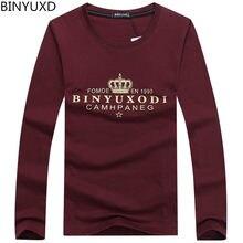 Binyuxd nuevo otoño para hombre marca camiseta de manga larga fitness  cómodo corona imprimir hombres camiseta b3d050cbac5
