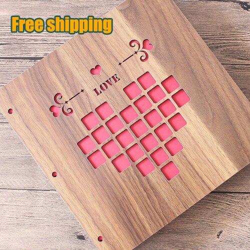 Wood 12 Inch DIY photo album loose-leaf book bronze card circle key ring card buckle scrapbooking paper scrapbook album<br><br>Aliexpress