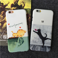 JiBan Decal phone shell love cat for iphone SE case protective sleeve feel small fresh hard shell for iphone 6/6s plus cases(China)