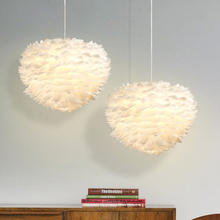 White Feather Warm Pendant Lights Creative Nest Modern LED Light Lamps for Baby Room Wedding Living Room Suspended Lamp Hanglamp