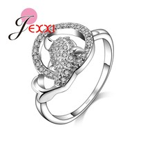 JEXXI Trendy Hollow Design Full Rhinestone Animal Gold Fish Rings Women Fashion 925 Silver Jewelry Best Friend Birthday Gifts
