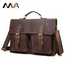 MVA Crazy Horse Genuine Leather Men Bag Men Briefcase Handbags Leather Laptop Bag Shoulder Crossbody Bags for Man Messenger Bags