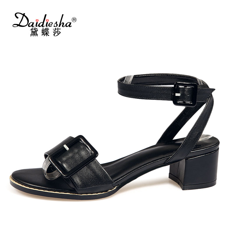 2017 Summer Button Women Sandals High Quality Cow Suede Med High Heels Ankle Wrap Shoes Lace-up Fashion Pumps Sandals Plus Size <br>
