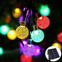 Lumiparty Crystal Solar String Lights 20ft 30LED Waterproof Christmas Outdoor Lighting Globe Fairy Lighting Decorations