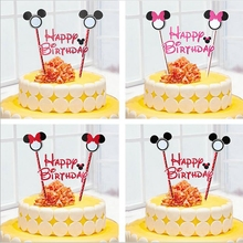 2pcs Mickey Minnie mouse theme happy birthday cupcake cake topper flags baby shower kids birthday party Cake decoration supplies