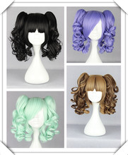 Hot Sell ! PoP Fashion Long BLACK MIXED brown /black/ice green/light purple  cosplay lolita  party wig + 2 clip on Ponytails