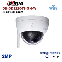Original dahua DH-SD22204T-GN-W WiFI IP 2MP HD Network Mini PTZ Dome 4x optical zoom POE wireless Camera SD22204T-GN-W(China)