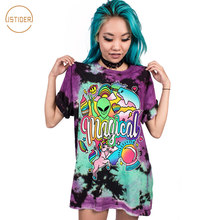 ISTider Rainbow Unicorn Alien Print 3D Funny T-Shirt Loose Girl/Boy T Shirt O Neck Fashion Tee Shirt Big Size 2017 Hot Selling