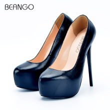 BEANGO Large Size 34-42 Women Platform High Heel Shoes Stiletto High Heeled Shallow Pumps Office Ladies Fashion Sexy Dress Shoes(China)