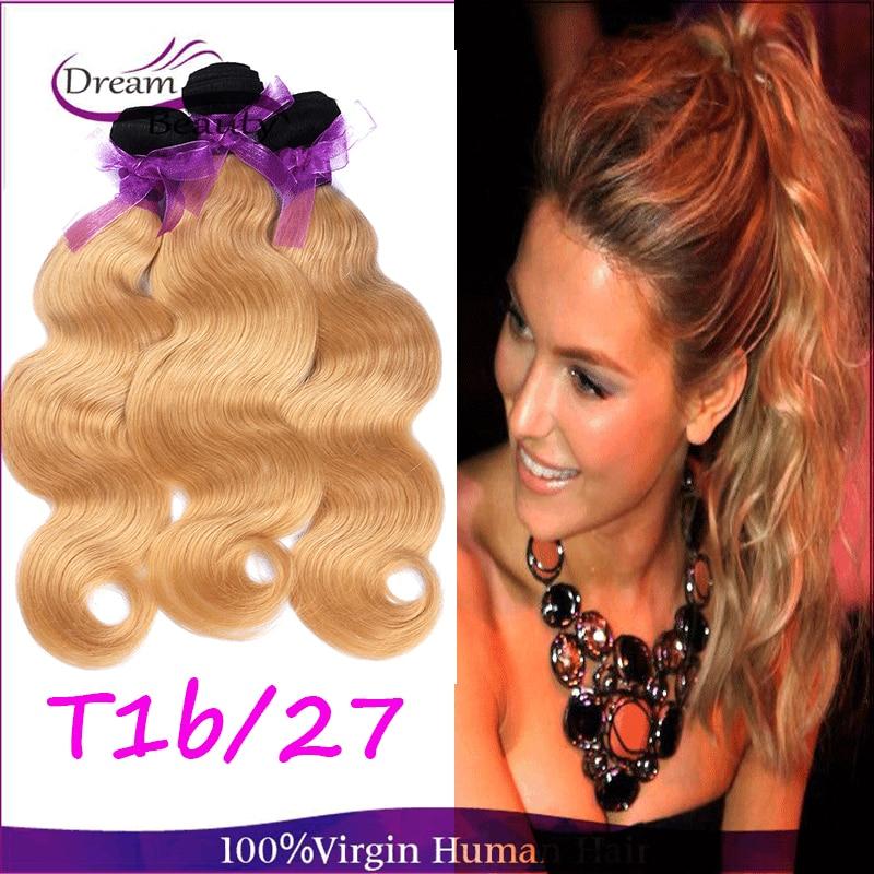 Ombre Brazilian Hair 3Bundles Brazilian Body Wave Honey Blonde Ombre Human Hair Weave T1b/27 Two Tone Ombre Hair Extensions<br><br>Aliexpress