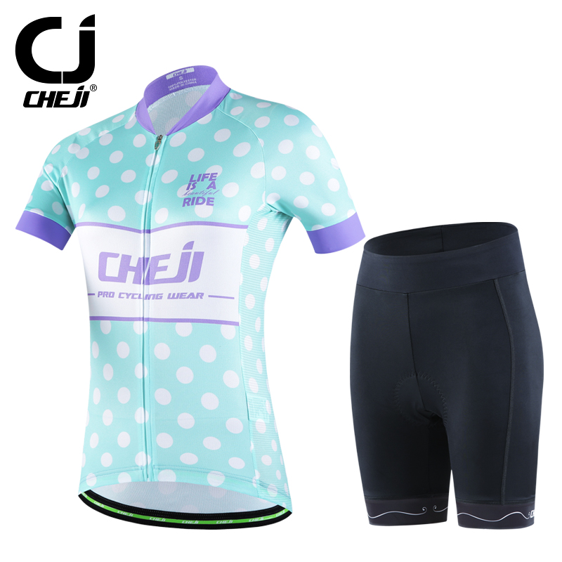 CHEJI Team Women Cycling Jersey Set Summer Roupa Ciclismo Bike Bicycle Clothing Outdoor Sportswear Cycling Clothing New Arrival<br><br>Aliexpress