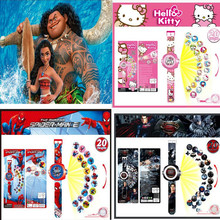 1 pcs Cartoon Watch Digital Projector 20 Style Figures Princess Moana Spiderman Snow White Action Figures Kid Gift Toy