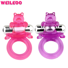 Buy 7 speed bear elastic vibrating cock ring penis ring vibrator adult sex toys men woman couples products erotic sex products
