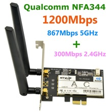 Qualcomm Atheros NFA344 802.11ac 1200Mbps PCi Express Desktop WiFi Adapter Wireless PCI Express Adapter with Bluetooth 4.1(China)