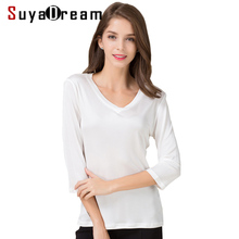 Women T shirt 100% Natural silk base shirt 3/4 sleeve V neck Bottoming shirt 2017 FALL new white black tops(China)