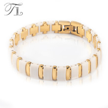 TL Stainless Steel Bangles Bracelets White Ceramic Health Bracelets Healing Energy Bangles Solid Gold Silver Color Mens Jewelry(China)