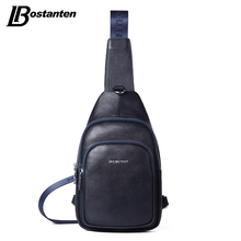 Bostanten New Retro Genuine Leather Men Chest Bag Pack Crossbody Shoulder Messenger Sling Bag Travel Double Zipper Bags(China)