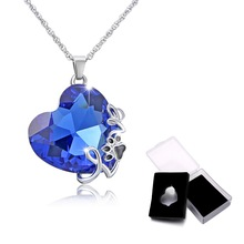 2018 Ocean Heart necklace love Heart pendant Necklace Blue crystal dog paw Pendant for women wedding Valentine's Day Gift(China)