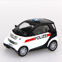 Kids toys 1/43 Scale Smart City Coupe Zinc Alloy Diecast Car Police Car Display Model Cars brinquedos Collectible boys Gifts