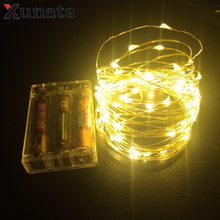 AA Battery Powered 2M 3M 5M 10M 100 led Christmas Holiday Wedding Party Decoration Festi Copper Led String Fairy Light Lamp(China)