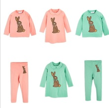 2017 bobo choses autumn winter kids rabbit pattern dresses girls legging kids clothing sets boys clothes vestidos 2 pcs hoodies