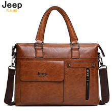 Famous Designer JEEP BULUO Brands Men Business Briefcase PU Leather Shoulder Bags For 14 Inch Laptop Bag big Travel Handbag 6013(China)