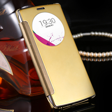 For LG Optimus G4 H815 H811 H810 VS986 LS991 F500 Mobile Phone Cover Bag Luxury Clear View Mirror Screen Flip Leather Smart Case