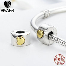 Authentic 100% 925 Sterling Silver Stopper Classic Heart Clip Beads fit Original Pandora Charm Bracelet & Bangles DIY Jewelry