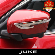 JUKE stainless stell modified side mirror Trim cover Mirror trim DOOR MIRROR trim auto accessories 2pcs