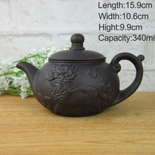 Authentic Yixing 340ml teapot tea set kettle,kung fu teapot Chinese Dragon and Horse Purple Clay Pot Black and Red Tea Service