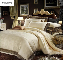 VESCOVO king size silk lace bedspreads bedding set silk duvet cover queen silk blanket set 220*240