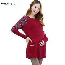 Weoneit Autumn and Winter Medium-long Plus Size Maternity Sweaters Dress Knitted Loose Pullovers Clothes for Pregnant Women