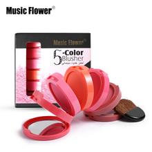 Music Flower Brand New Professional Make Up 5 in 1 Colors Watertproof Makeup Blush Face Blusher Powder Palette Cosmetics Set(China)
