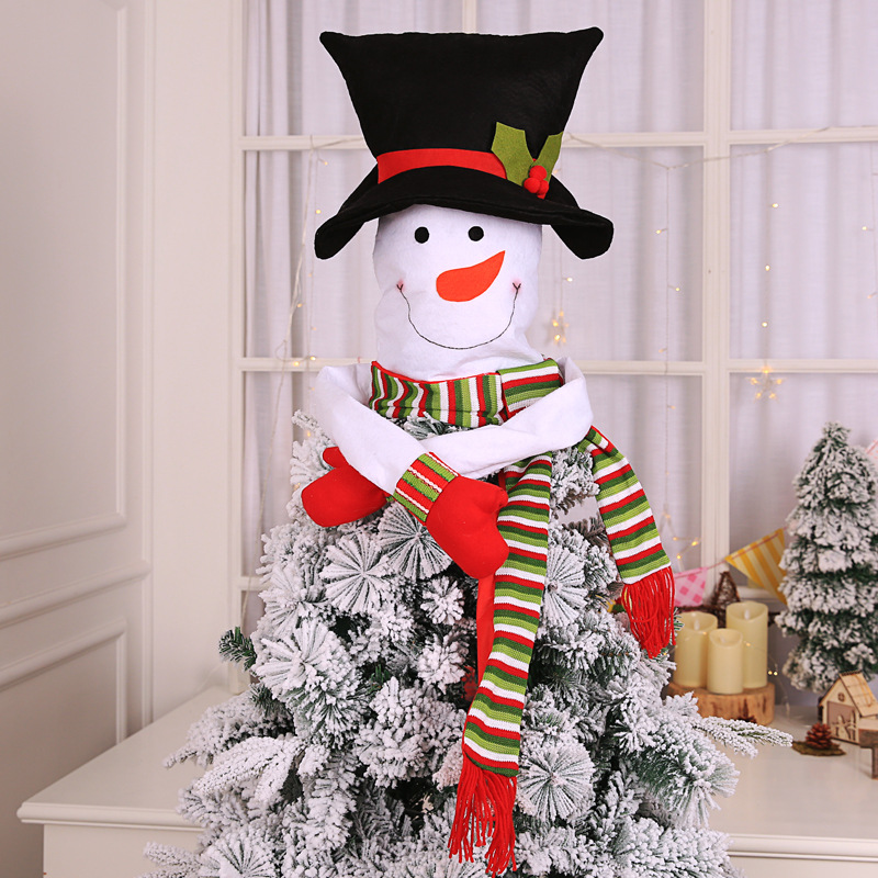 1 PCS Snowman Christmas Tree Topper Hat Scarf Hugger Xmas Christmas Tree Decorations For Home Store Ornament Party Supplies