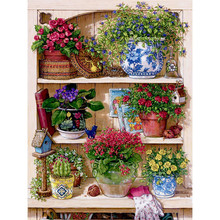 3D DIY Diamond Embroidery Warm Home Flower On The Shelf Diy Diamond Painting Mosaic Picture Pattern Cross Stitch Full Rhinestone