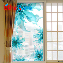 60*116cm modern Frosted Privacy Glass Window Door blue Flower Sticker Film self Adhesive window film Home Decor Hot Sale