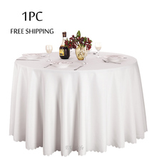2017 New Big Size Polyester White Round Table Cloth Wedding Tablecloth Party Table Cover Dining Table Linens Table Decorations(China)
