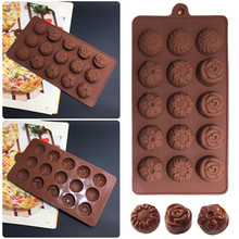 1PCS Unique  Four Kinds Of Flowers Shape Silicone Chocolate Mold , Ice, Cupcake, Lollipop,& Sugar Tool