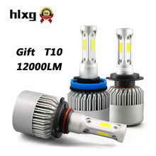 hlxg 2PCS 36W 12000LM H7 LED H4 H11 Car Headlight Bulbs Auto Car Lights 6500K 3 sides COB Chips Automobiles LED 12V Front Light