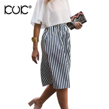 Kuk Black And White Striped Skirt High Waist Elastic Loose Party Wear Ladies Long Pleated Skirts Womens A170