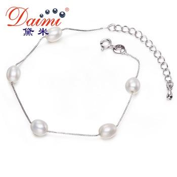 DAIMI 6-7mm Arroz Blanco Perla de Agua Dulce Pulsera de Plata Romántica Joyería de La Boda de La Perla Pulsera de Cadena de la Mano del Estilo de LA UE regalo
